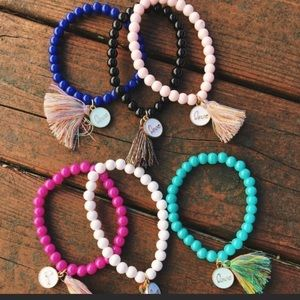 3 love charm and tassel bracelet bundle